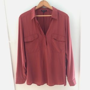 Eileen Fisher Salmon colored Silk Popover Top